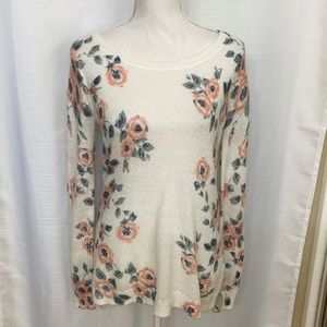 Jessica Simpson Crew Rose Ribbon Tie Sweater